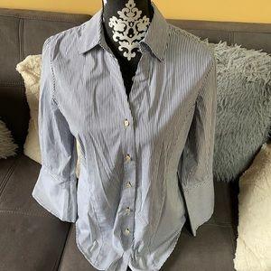 ANNE KLEIN Black & White Striped Button-down Shirt
